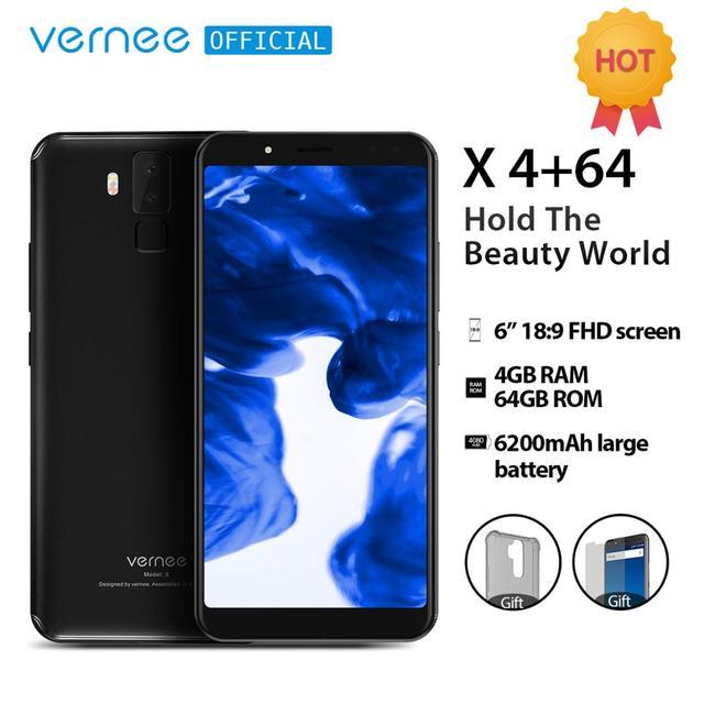 Vernee X 6.0 Inch 18:9 FHD Full Màn Hình Điện Thoại Smartphone 4G LTE Mặt ID RAM 4 GB ROM 64 GB MTK6763 Octa Core 16.0 MP 6200 mAh Điện Thoại Di Động