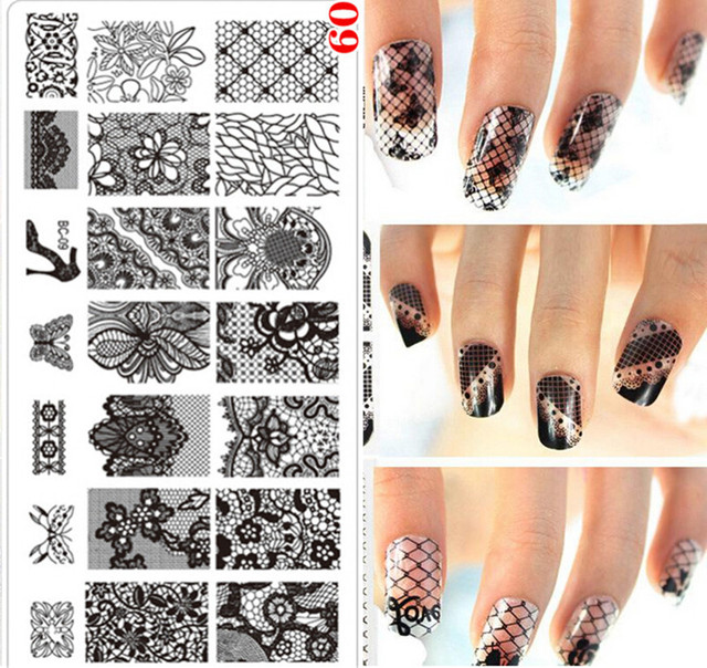 1pcs Rectangle Nail Art Stamping Plate Lace Flower Design Stamp Image Hot Sale