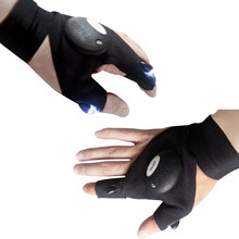 Outdoor Fishing Magic Strap Fingerless Glove LED Flashlight Torch Cover Black Camping Tools Free Shipping