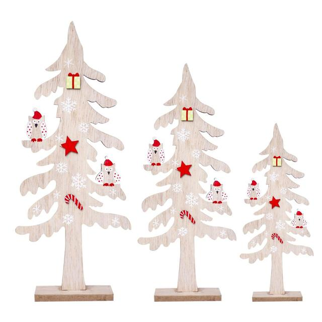 2018 new nordic ins wooden creative desktop small christmas tree mini ornaments wooden block christmas decorations - Small Christmas Decorations