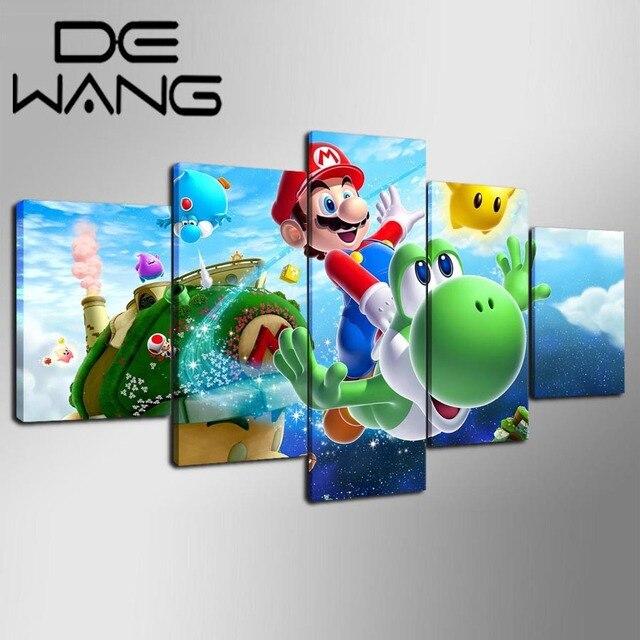 5 Stück Leinwand Gedruckt Dekoration Wandkunst Super Mario Galaxy ...