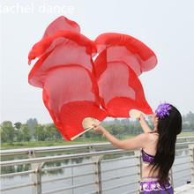 100 Silk Oriental Fan tańca welony gradientowy ogień wiele kolorów Fan Belly scena taneczna wydajność właściwość wachlarz do tańca para tanie tanio Taniec brzucha Akrylowe Poliester COTTON spandex WOMEN Dancer s Vitality black red leopars zebra S M L XL XXL can be free to make