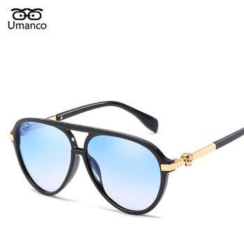 37625e7652 Umanco moda gradiente cráneo espejo gafas de sol hombres mujeres marca  diseñador Punk gafas piloto aviador gafas de sol verano rayos UV400