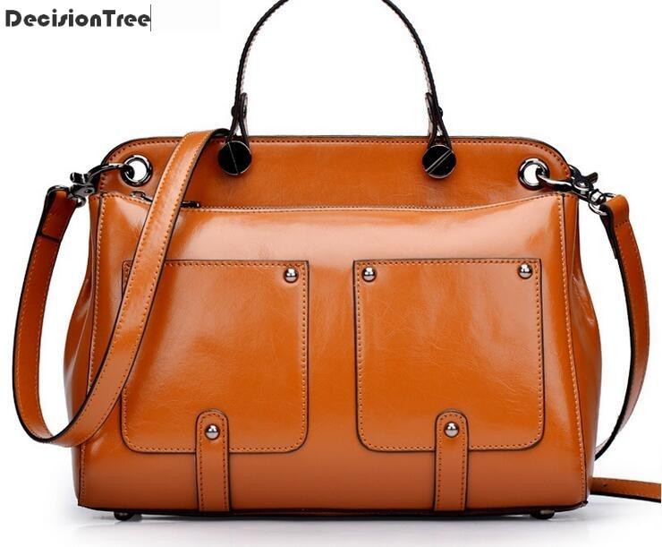 Famous Brand Women Bag New Fashion Vintage Genuine Leather Big Bag Women Shoulder Messenger Bag Ladies Handbag