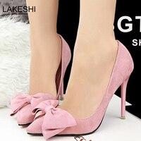 נשים משאבות עקבים גבוהים נעלי נשים מותג LAKESHI קשת סקסית אדומים נעלי נשות עקבים גבוהים הבוהן מחודדת