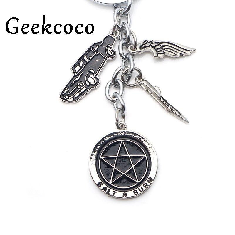 Supernatural Star Car Metal Charm Tassel Keychain Keyring Kids Gift Party Favor Keys Covers Bag Pendant Jewelry Favor J0365