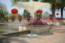 3.5 meter deluxe flower outdoor umbrella garden parasol sunshade for patio furniture covers ( no stone base )