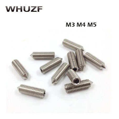 50Pcs DIN914 M3 M4 M5 304 Stainless Steel Grub Screws cone Point Hexagon Socket Set Screws Headless50Pcs DIN914 M3 M4 M5 304 Stainless Steel Grub Screws cone Point Hexagon Socket Set Screws Headless