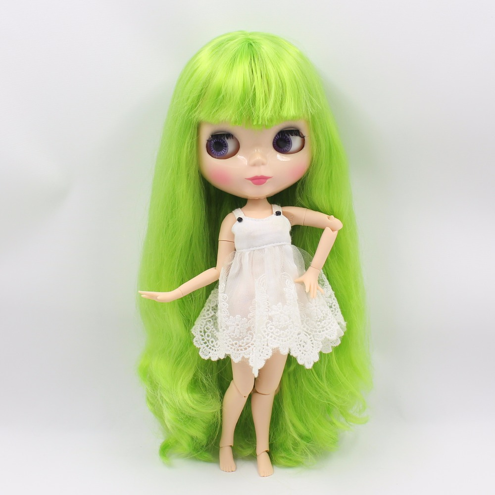Neo Blythe Doll with Green Hair, Natural Skin, Shiny Face & Jointed Body 3