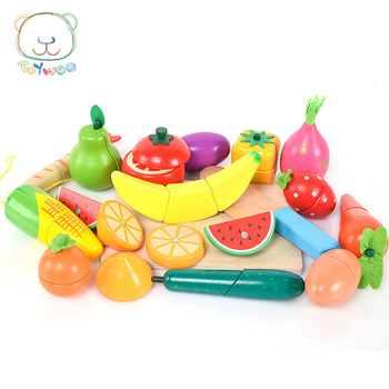 [Toy Woo] Children Gift Magnetic Cut Fruits And Vegetables Meet Seafood Boys Girls Play Kitchen Wooden Toys