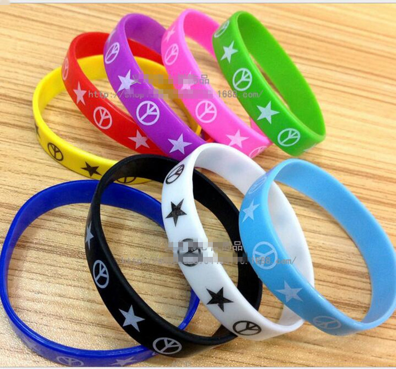 Bracelets & Bangles Bangles Earnest 100pcs/lot Low Price Mixed Silicone Rubber Wristband Bracelet Star & Peace Pattern Bangles For Women & Men Fashion Jewelry Pab66 With The Best Service