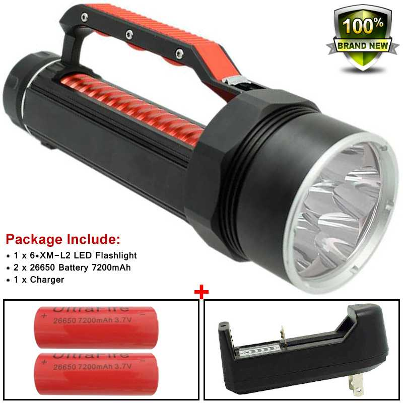 Wasafire 9000LM 6 x XM-L2 LED Lamp Light Diving Flashlight Underwater Waterproof Flash Lights 26650 Battery Torch For Hike 2015 new 4 x cree xm l2 6000lm diving flashlight led underwater torch waterproof flash light 2x 26650 battery charger