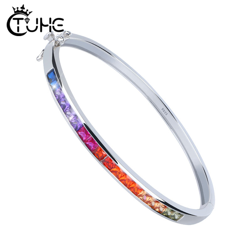 Bracelet en cristal arc-en-ciel Bracelet pour femmes filles pavé de réglage S925 Bracelets en argent Sterling de mariage bijoux de fiançailles cadeau Bar