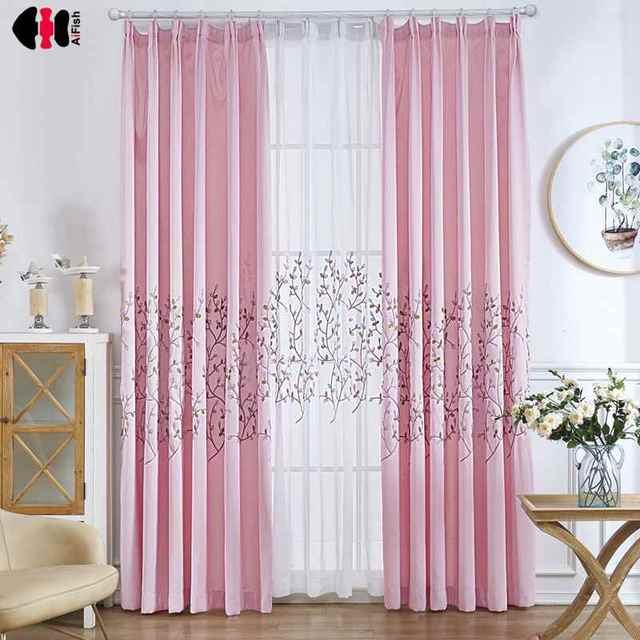 Cute Charm Embroidered Ivy Leaf Pink Gauze Curtain Boys Girls Kids ...