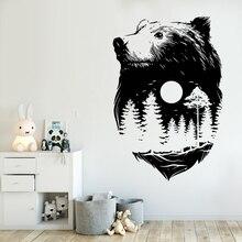 Наклейка на стену с изображением медведя леса, дизайн, природа, дух, настенная роспись, индийская культура, стиль, домашний декор, медведь, лес, наклейка на стену, AY1052