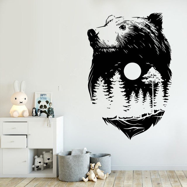 Forest Bear Wall Sticker New Design Nature Spirit Wall Art Mural