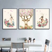 Nordic Animal Posters and Prints Modern Minimalist Flower Elk Canvas Painting Wall Art Pictures for Christmas Home Decoration