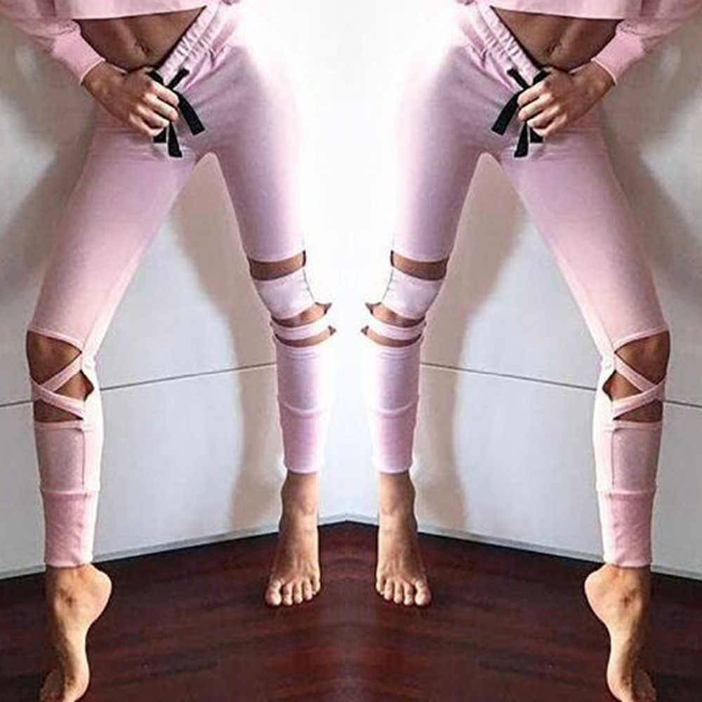 Aushöhlen Polyester Sportings Leggings Frauen Hohe Kompression Mode Fitness Leggins frauen Sportwear Hosen Workout Legging