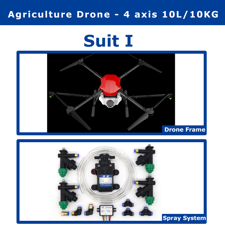 EFT E410 4 Axis 1300mm 10L/10KG Agricultural Spraying Drone Flight Platform  Folding  Spray Quadcopter