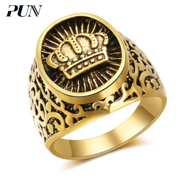 Pun Gothic Antique Vintage Crown Ring Gold Mens Signet Rings For Men