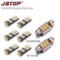 JSTOP 8piece/set A4L A5 S5 led reading light canbus W5W 12V festoon bulbs c5w reading lamp 36mm 4014SMD led car T10 Trunk light