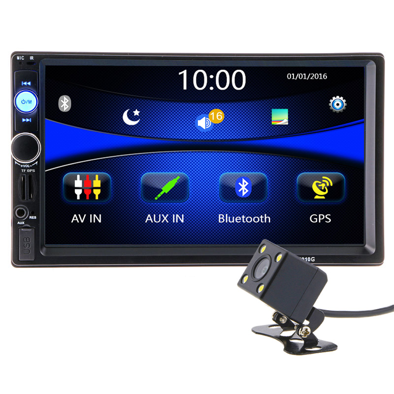 2 din 7 inch HD Car Radio GPS Navigation Player Camera Autoradio Bluetooth AUX MP3 MP5 Stereo FM Audio USB Auto Electronic 7010G car mp5 player with rearview camera gps navigation 7 inch touch screen bluetooth audio stereo fm function remote control