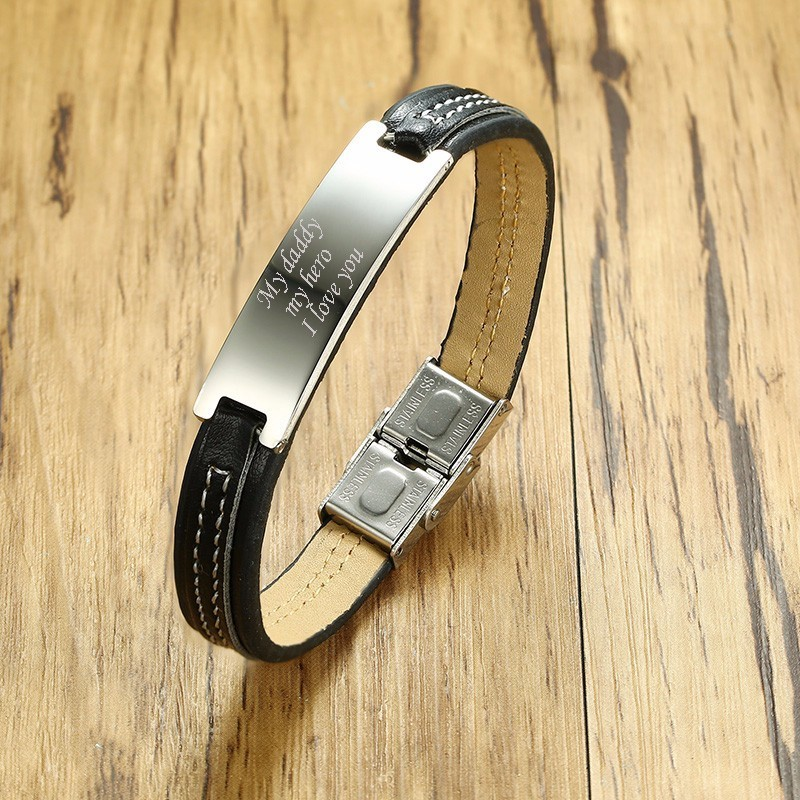 Personalized Men's Engraved Message Leather Bracelet in Black Men Stainless Steel Tag Bangle for Male Jewelry Gift for Him 7.8
