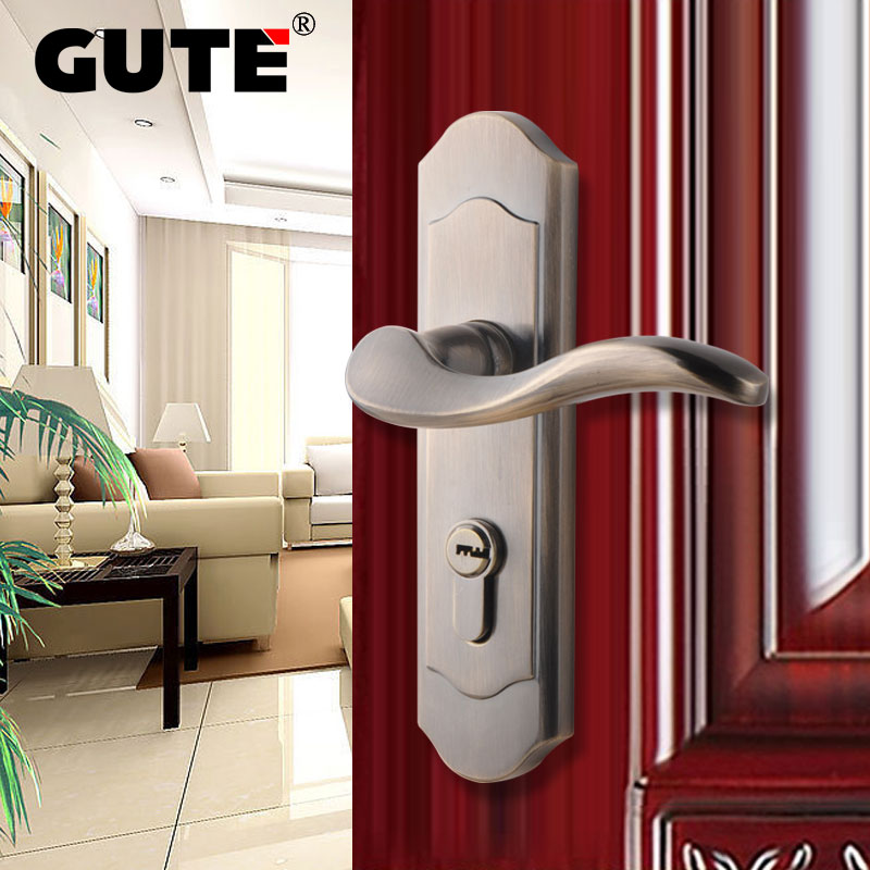 GUTE Single Latch Indoor Door Lock Antique Bronze Brushed Finish Zinc Alloy Handle Escutcheon Interior Bedroom Door Lock bqlzr 8 inch hairline finish silver security door slide flush latch bolt