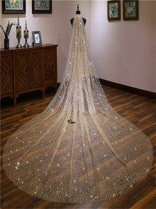 Image 5 - חתונה רעלות 3 מטרים כלה כיסוי ראש מקל גביש תחרה שמי זרועי הכוכבים דפוס קתדרלת כלה רעלות חתונת אביזרי צילום