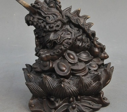 Szczęście Chiny Złoty Toad spittor Posąg Fengshui brąz Wealth yuanbao Pieniądze Monety|statue ceramic|statue resinstatue of liberty coins -
