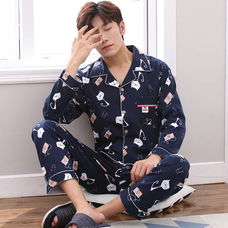 Spring And Summer Men's Sleep Couple Pajamas Set Unises Adult Home Clothes Sleepwear Underwear Cotton Pajamas