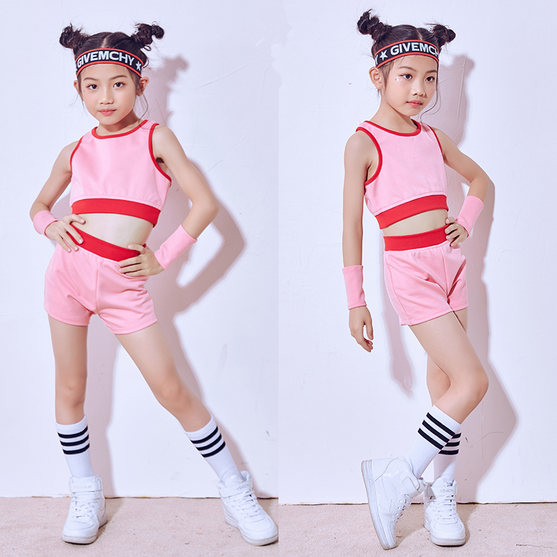 New Hip Hop Dance Costume Girls ChildrenS Day Show Pink Vest Shorts Jazz Costumes Street ...