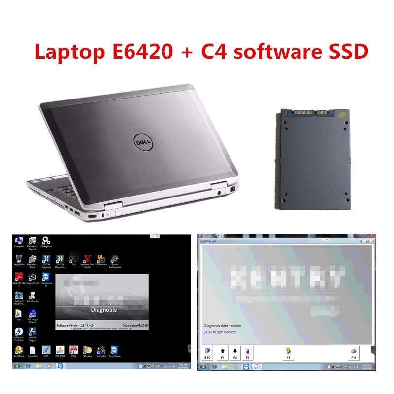 Zweite Hand Verwendet Laptop Computer E6420 I5 4 Gb Mit Mb Star C4 Software In 240 Gb Ssd Für Mercedes Benz Auto Lkw Auto Diagnose Zur Verbesserung Der Durchblutung