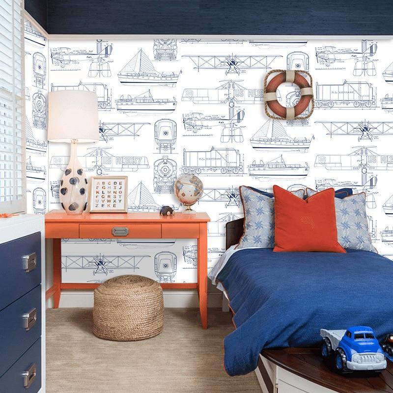 Beibehang style européen simple chambre d'enfants non-tissé papier peint garçon fille chambre avion dessin animé papier peint 3d plancher - 4