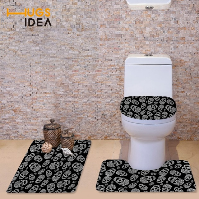 HUGSIDEA Cute Cartoon Skull Toilet Seat Cover 3D Soft WC Cover Home Decor Bathroom  Area Rugs