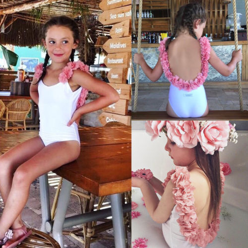 Solid Swimwear Swimsuits Outfit Beachwear Floral Newborn Baby-Girls Kids 3D Backless title=