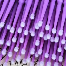 100 PCS Set Makeup Cotton Swab Micro Eyelashes Extension Individual Lash Glue Removing Disposable Brushes
