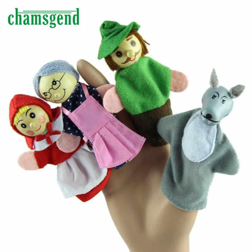 Top Quality 4PCS Little Red Riding Hood Finger Puppets Christmas Gifts Baby Educational Toy Aug3