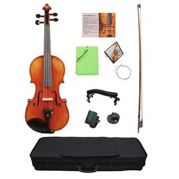4/4 skrzypce akustyczne skrzypce drewno świerkowe płyta przednia klon falisty tablica dla początkujących Student Performer z futerał na skrzypce