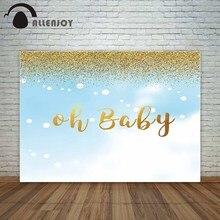 Allenjoy Fondo de cumpleaños para Baby Shower, Oh Baby, Pastel, azul, brillo, puntos dorados brillantes, tela de estudio de fotófono