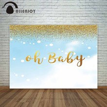 Allenjoy photo background baby shower backdrop Oh baby pastel blue with glitter shiny golden dots photophone studio photography