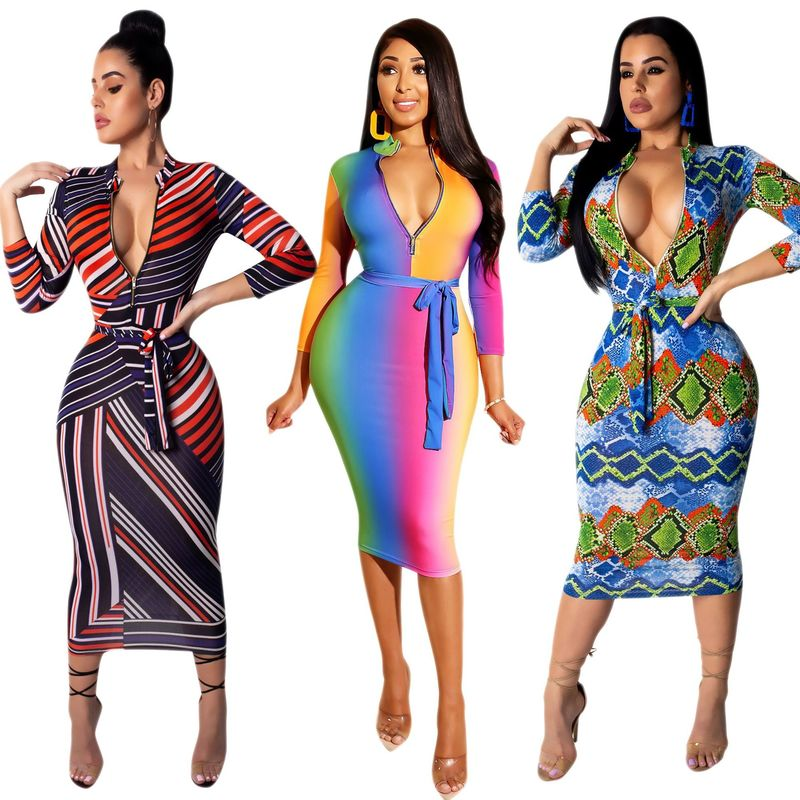 Plus Size S-3XL Striped Print Sexy Bodycon Dress Women Long Sleeve Deep V Neck Spring Autumn DressES Party Vestidos 2019 New
