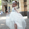 2017 White Formal Girl Dresses Kids Wedding Princess Vestidos Girls Clothes Of 3 4 5 6 7 8 9 10 11 12 Years Old AKF164063