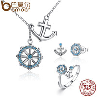 BAMOER Authentic 925 Sterling Silver Blue Anchor Rudder Pendants Necklaces Jewelry Sets Sterling Silver Jewelry ZHS035