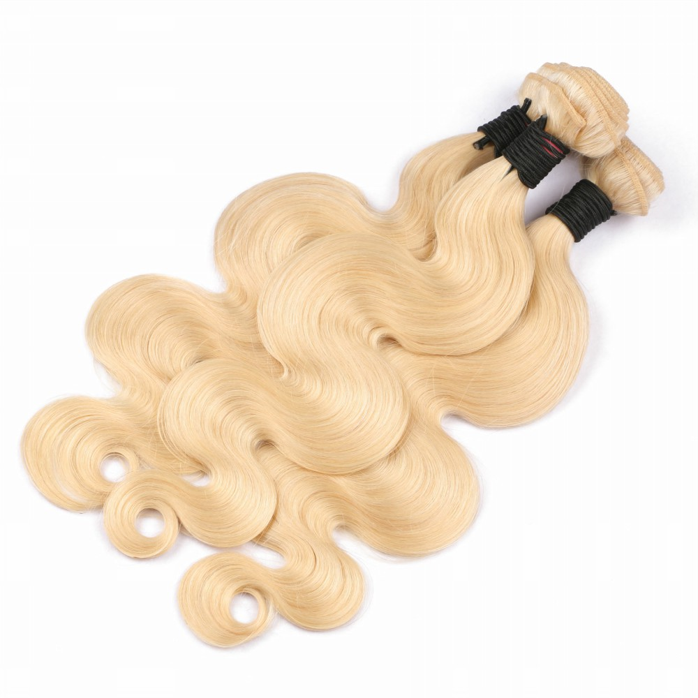 Shumeida Brazilian Body Wave Blonde Hair Bundles With Frontal 613 Color Remy Human Hair Weft Ear to Ear Lace Frontal 13*4