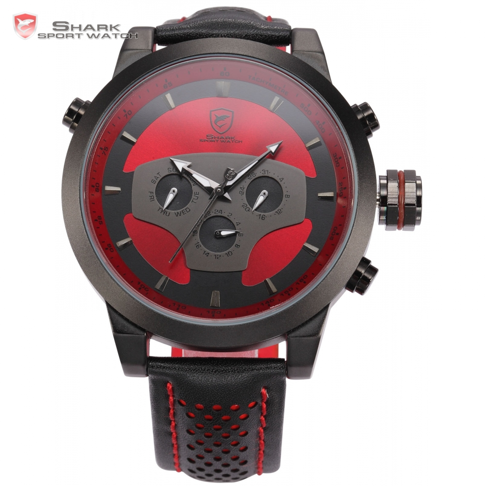 SHARK Sport Watch Skull 3D Dial 6 Hands Day Date 24 Hours Display Black Red Leather Strap Male Men Military Quartz Clock / SH207