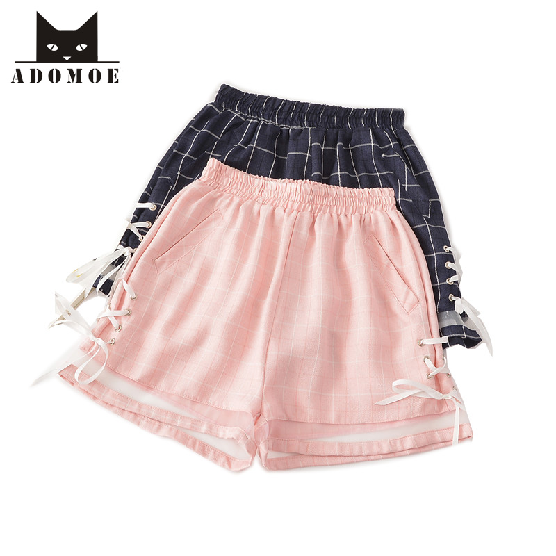 Summer Girls   Shorts   Pink&Navy blue Plaid Bandage Lace up Childish Cute Kawaii Women Teens Wide leg Casual Preppy style Bottoms