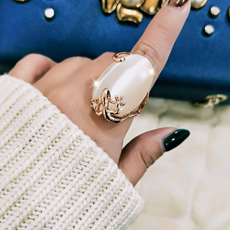 SINLEERY Vintage grande Bague en pierre opale ovale pour femmes couleur or Rose Bague de fiançailles bijoux de mariage Anel JZ010 SSB