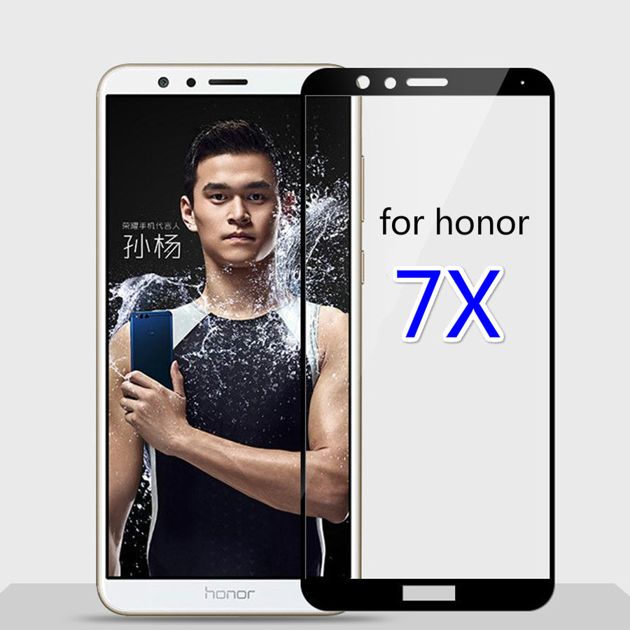 full cover Screen Protector Toughened <font><b>Glass</b></font> For <font><b>Huawei</b></font> <font><b>honor</b></font> 7x 9H Tempered <font><b>glass</b></font> For <font><b>honor</b></font> <font><b>7</b></font> X screen protective 7x black white image