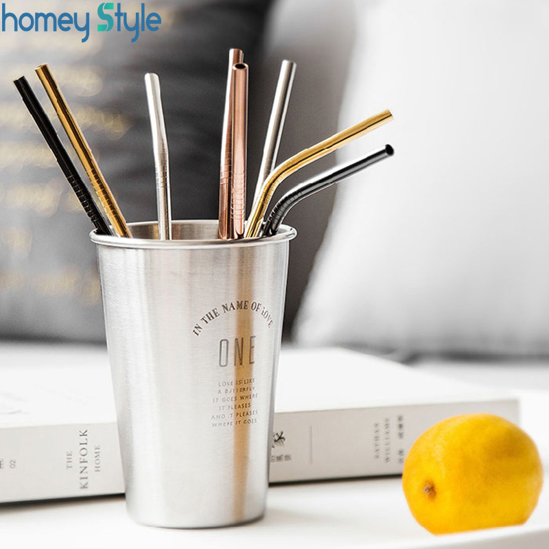 100pcs Straw and 20pcs Cleaning Brush For Stainless Steel Metal Straws Reusable Drinking Tubes Bar Accessory
